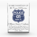 """Officer Years Of Service Award - Recognition Award<br><div class=""""desc"""">Officer Years Of Service Award - Recognition Award. Recognition for years of service award. Here is a plaque for recognition of 25 years of police service. This award can be edited to change every piece of the message. These are greats ways to award a police officer for their many years...</div>"""