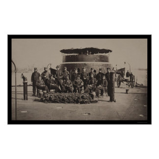 Officers on the Deck of the USS Monitor 1861 Poster