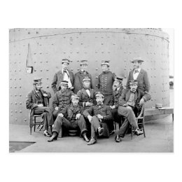 Officers on USS Monitor, 1862 Postcard