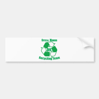 Official 2009 Recycling Team Car Bumper Sticker