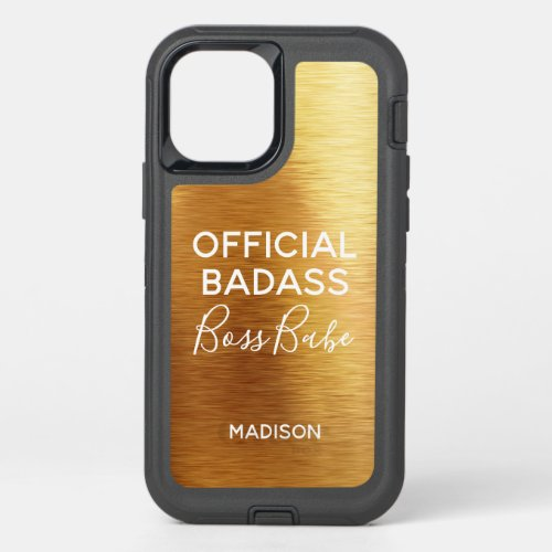 Official Badass Boss Babe Chic Metallic Gold Name OtterBox Defender iPhone 12 Case