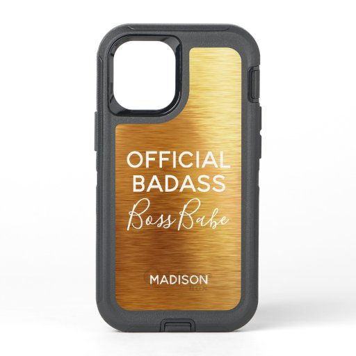 Official Badass Boss Babe Chic Metallic Gold Name OtterBox Defender iPhone 12 Mini Case