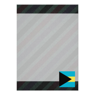 """Official Bahamas Flag on stripes 5"""" X 7"""" Invitation Card"""