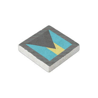 Official Bahamas Flag on stripes Stone Magnet