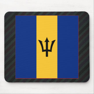 Official Barbados Flag on stripes Mouse Pad