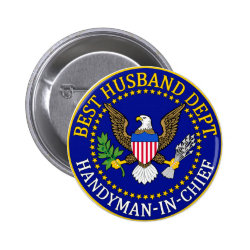 Round Button with Official Husband Seal design