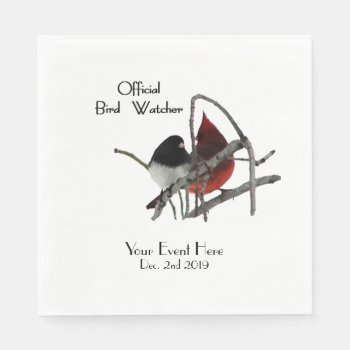 Official Bird Watcher Name and Date Napkin