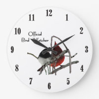 Official Bird Watcher with Black Numbers Large Clock
