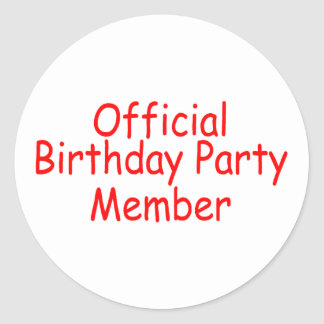 Official Birthday Party Member Classic Round Sticker