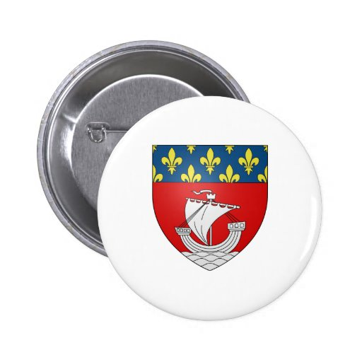 Official Blason Paris Coat Heraldry Symbol France Button