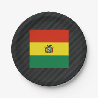 Official Bolivia Flag on stripes Paper Plate