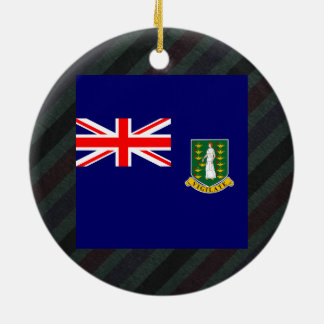 Official British Virgin Islands Flag on stripes Double-Sided Ceramic Round Christmas Ornament