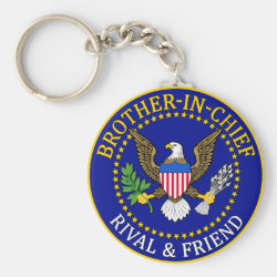 Basic Button Keychain with Brother-in-Chief: Official Brother Seal design