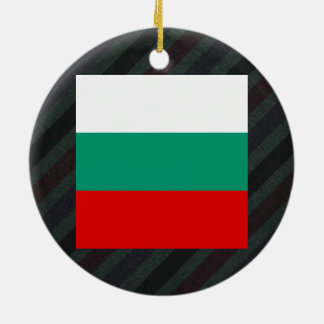 Official Bulgaria Flag on stripes Double-Sided Ceramic Round Christmas Ornament