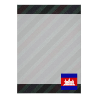 """Official Cambodia Flag on stripes 5"""" X 7"""" Invitation Card"""