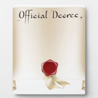 Official certificate scroll display plaques