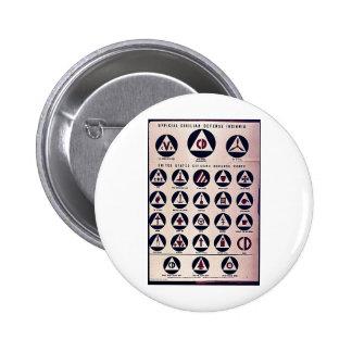 Official Civilian Defense Insignia Pinback Buttons