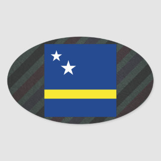 Official Curacao Flag on stripes Oval Sticker