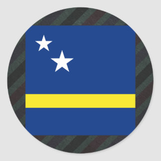 Official Curacao Flag on stripes Classic Round Sticker