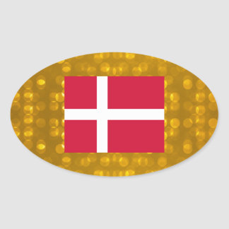 Official Danish Flag Oval Sticker