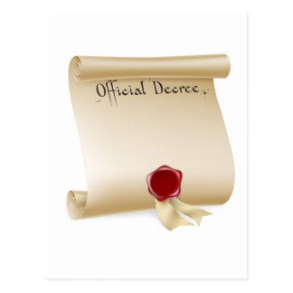 Official Decree Scroll With Red Wax Seal Postcard