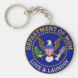 Basic Button Keychain with Official Mom Seal design