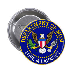Round Button with Official Mom Seal design