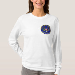 Women's Basic Long Sleeve T-Shirt with Official Mom Seal design