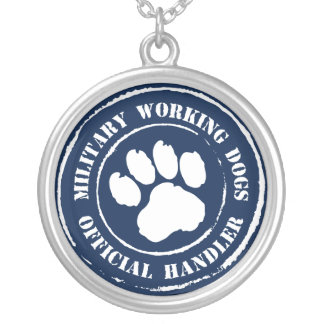 Official Dog Handler - MWD Round Pendant Necklace