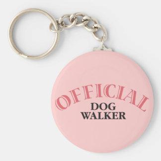 Official Dog Walker - Pink Basic Round Button Keychain