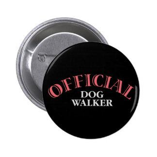 Official Dog Walker - Pink Pinback Button