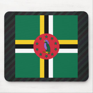 Official Dominica Flag on stripes Mouse Pad