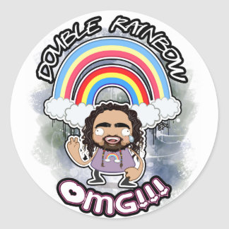 OFFICIAL Double Rainbow Stickers! Classic Round Sticker