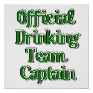 Official Drinking Team Capt Text Image Posters