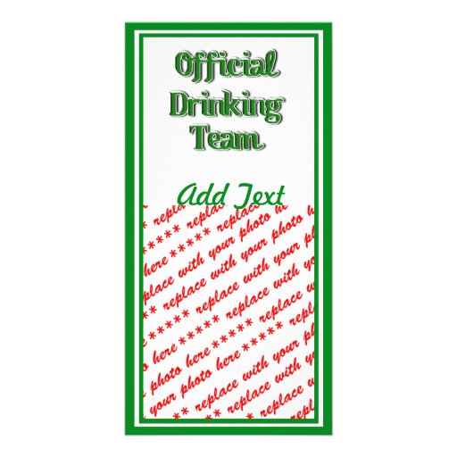 Official Drinking Team Text Image Photo Card