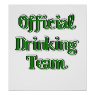 Official Drinking Team Text Image Print