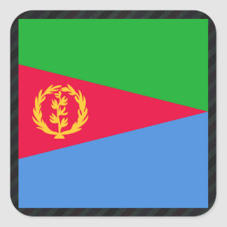 Official Eritrea Flag on stripes Square Sticker