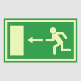 Official Euro Emergency, fire exit sign (left) Rectangular Sticker