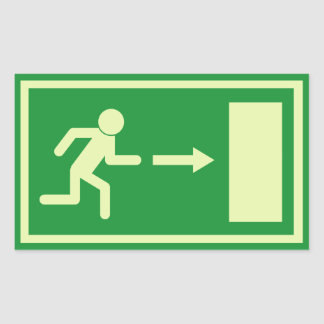 Official Euro Emergency, fire exit sign (right) Rectangular Sticker