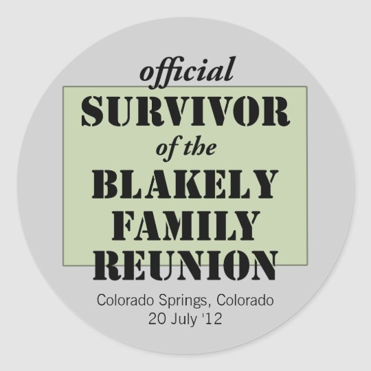 Official Family Reunion Survivor - Colorado Classic Round Sticker