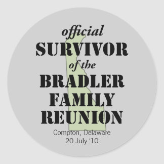 Official Family Reunion Survivor - Delaware Green Classic Round Sticker