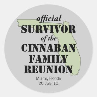 Official Family Reunion Survivor - Florida Green Classic Round Sticker