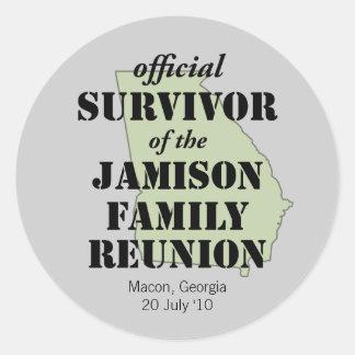 Official Family Reunion Survivor - Georgia Green Classic Round Sticker