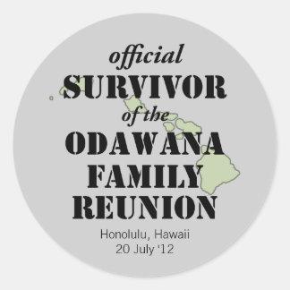 Official Family Reunion Survivor - Hawaii Green Classic Round Sticker