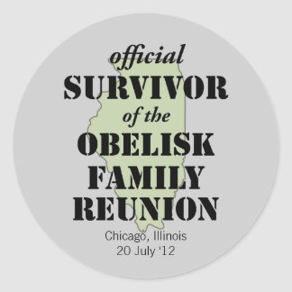 Official Family Reunion Survivor - Illinois Green Classic Round Sticker