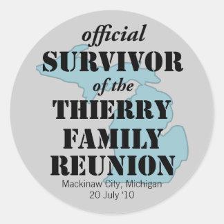 Official Family Reunion Survivor - Michigan Blue Classic Round Sticker