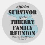 Official Family Reunion Survivor - Michigan Blue Round Sticker