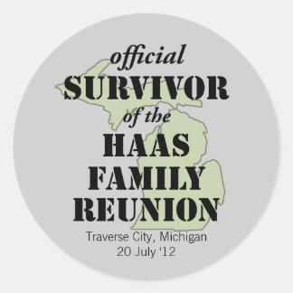Official Family Reunion Survivor - Michigan Green Classic Round Sticker