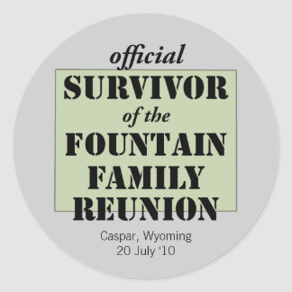 Official Family Reunion Survivor - Wyoming Green Classic Round Sticker