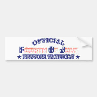 Official Fourth / 4th Of July Firework Technician Bumper Stickers